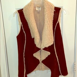 Faux brown suede and Sherpa-lined vest